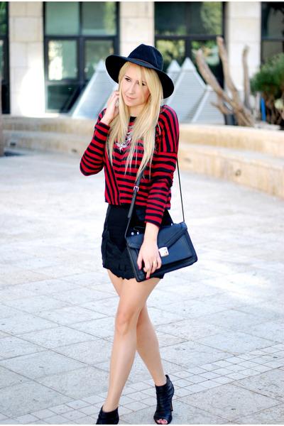 red Zara top - black Zara skirt