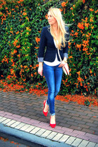 navy Zara blazer - blue Zara jeans - off white Forever 21 bag