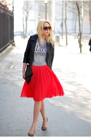 red asos skirt - Zara heels