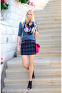 Magenta-h-m-top-navy-zara-skirt