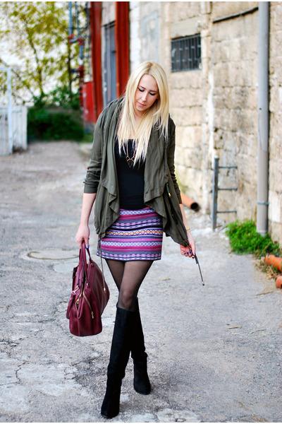 magenta Forever 21 skirt - black Forever 21 boots