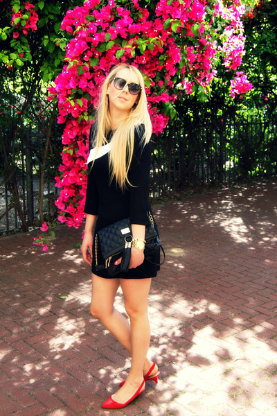 black Zara dress - black River Island bag - red Bershka pumps