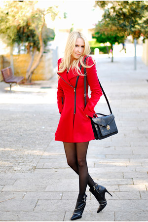 red asos coat - black Zara boots