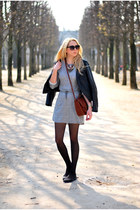 heather gray H&M dress - dark brown H&M bag - brick red Zara necklace