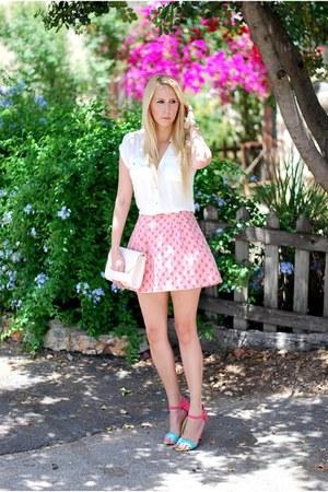 salmon Oasis skirt - ivory Oasis shirt - aquamarine Primark heels