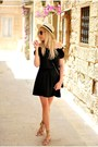 Black-asos-dress-beige-asos-hat-bronze-asos-sandals