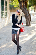 black Mango skirt - white pull&bear shirt - red asos bag - black Zara heels