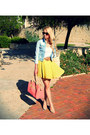 Sky-blue-zara-jacket-salmon-bershka-bag-yellow-forever-21-skirt