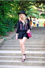 Black-forever-21-dress-black-forever-21-hat-maroon-stradivarius-bag