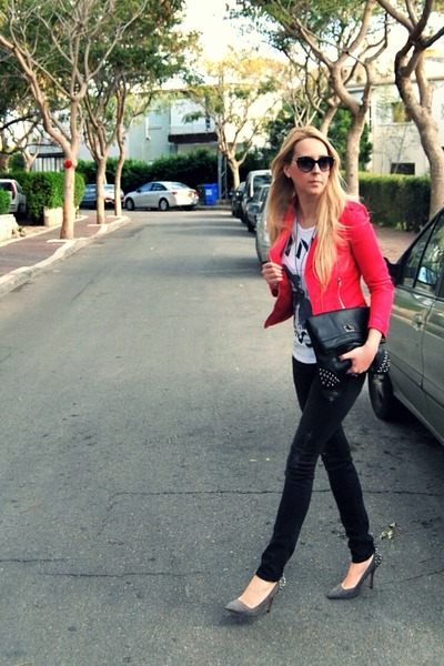 gray H&M jeans - hot pink H&M jacket - white Forever 21 t-shirt