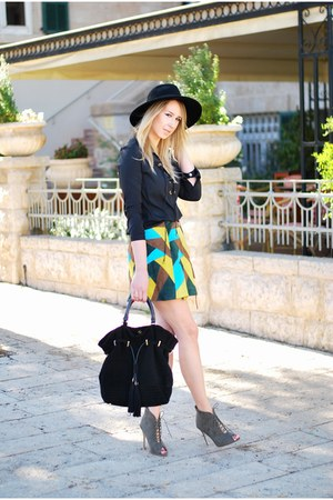 turquoise blue asos skirt - black H&M hat - black Zara bag
