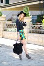 Black-h-m-hat-black-zara-bag-turquoise-blue-asos-skirt