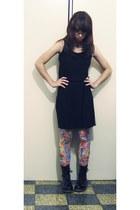 black patent boots - black cotton dress - bubble gum H&M tights