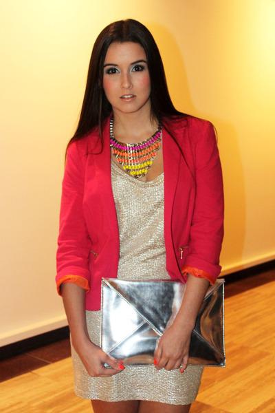 Zara blazer - Stradivarius dress - Zara purse - Kiss necklace
