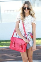 red flowers skirt - hot pink bag - white lace t-shirt - dark brown glasses