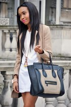 tan blazer - white dress - black bag