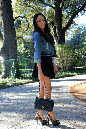 black heels sandals - black dress - navy denim jacket - black clutch Chanel bag