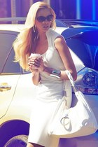 tan glasses - white dress - white bag - silver bracelet