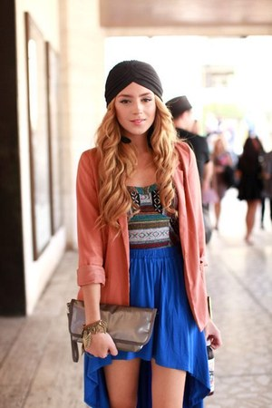 blue skirt - gray hat - salmon blazer - heather gray bag - turquoise blue top