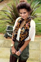 black scarf - white blouse - army green skirt