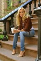 brown studded blazer - sky blue skinny jeans - white top - tan heels