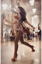 bronze boots - tawny bag - brown pants - tan blouse