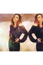black lace H&M blouse - black jeans Primark pants