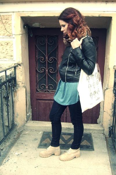 camel thrifted boots - black leather H&M jacket - eggshell tote bag bag