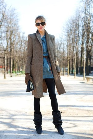 boots - coat - sunglasses - blouse - gloves