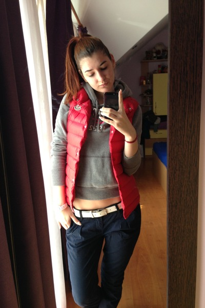 navy Bershka pants - red Moncler vest - heather gray hollister hoodie