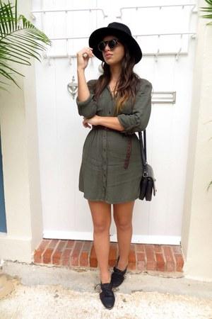 army green UO dress - black cutout Marshalls shoes - black Zara hat