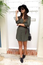 army green UO dress - black cutout Marshalls shoes - black Zara hat