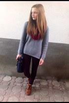 silver sweater - crimson Bershka leggings