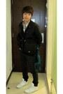 White-supra-shoes-green-guess-jeans-black-zara-jacket-dark-green-levis-shi