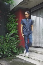 white H&M shoes - navy jeans - navy shirt - silver Topman accessories