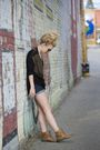 Black-h-m-brown-steve-madden-boots-blue-bdg-shorts-black-ray-ban-sunglas