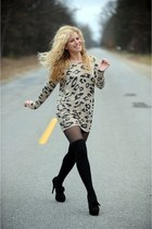 sweater co luluscom dress - bow heels Kelsi Dagger shoes - Exhilaration socks