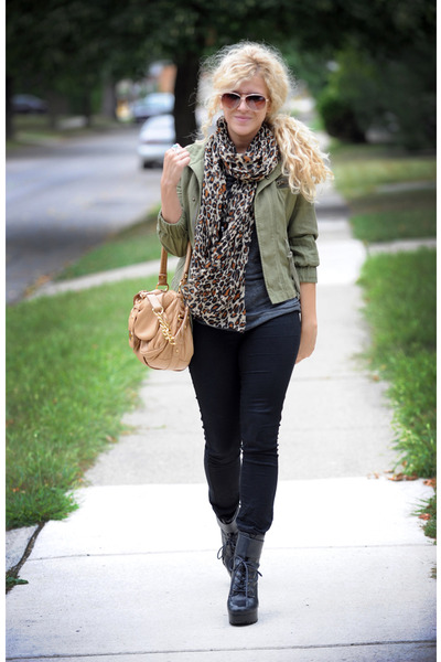 beige Badgley Mischka purse - black Jeffrey Campbell boots - green ecote jacket