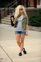 green ecote jacket - gray BDG top - blue Levis shorts - black Aldo shoes