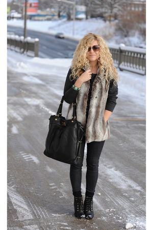 gray kristen blake vest - black BDG jeans - gray Forever 21 sweater - brown Marc