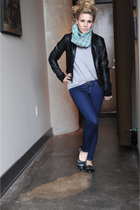 green Urban Outfitters scarf - gray SilenceNoise sweater - blue BDG jeans - blac