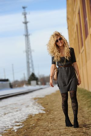 gray kensie dress - black Aldo shoes - beige Marc Jacobs bag