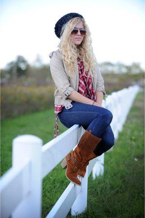 beige Zara jacket - brown co modcloth boots - red MISS FOX top