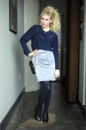 blue Valentino blouse - silver SilenceNoise skirt - black Ciao Bella shoes - bla