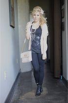 black BDG pants - beige Marc Jacobs purse - pink f21 cardigan - black deena and
