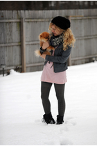 gray For Joseph jacket - pink American Apparel dress - blue free people scarf -