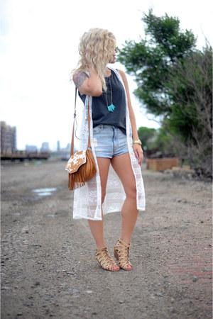 luluscom top - trask bag - BDG shorts - Call it Spring wedges