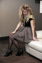 brown lark and wolff skirt - black Anne Klein tights - black Ciao Bella shoes -