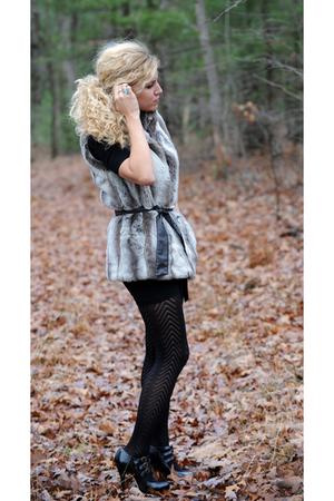 black American Apparel dress - gray kristen blake vest - tights