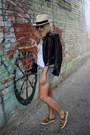 J-crew-hat-zara-jacket-wink-and-winn-bag-athleta-shorts